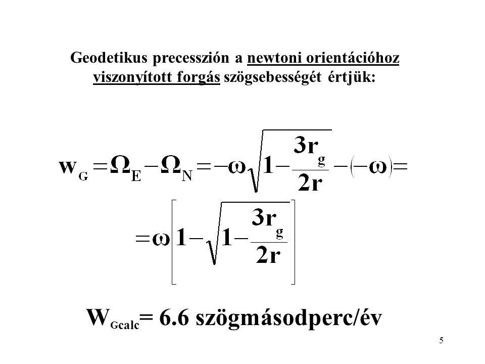5 Geodetikus precesszión a newtoni orientációhoz viszonyított forgás szögsebességét értjük: W G calc = 6.6 szögmásodperc/év