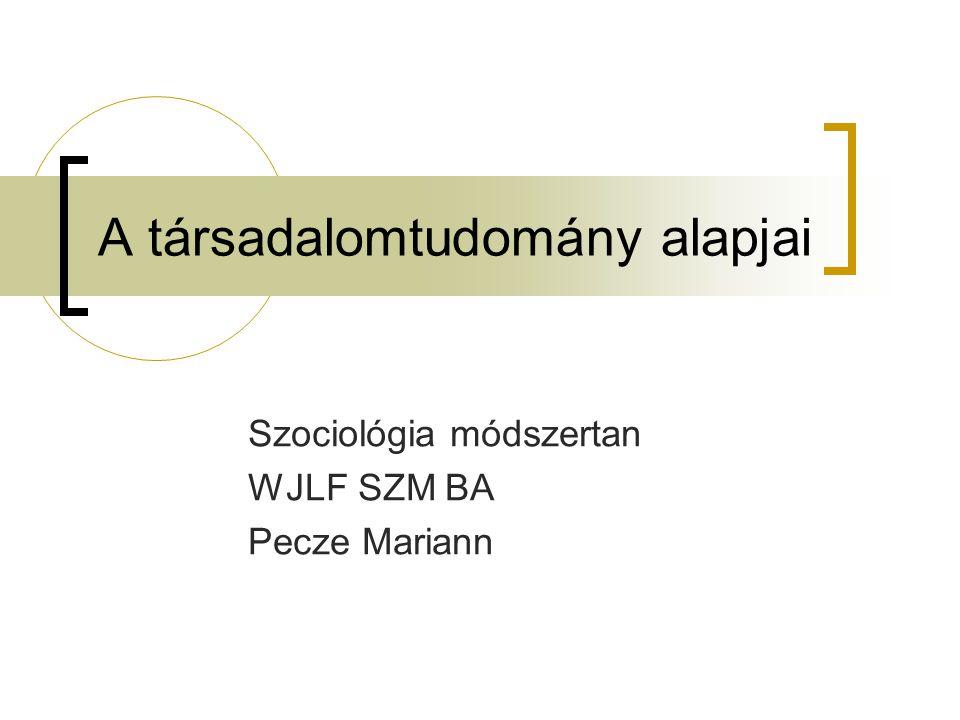 A társadalomtudomány alapjai Szociológia módszertan WJLF SZM BA Pecze Mariann