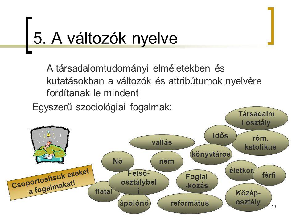 13 5. A változók nyelve A társadalomtudományi elméletekben és kutatásokban a változók és attribútumok nyelvére fordítanak le mindent Egyszerű szocioló