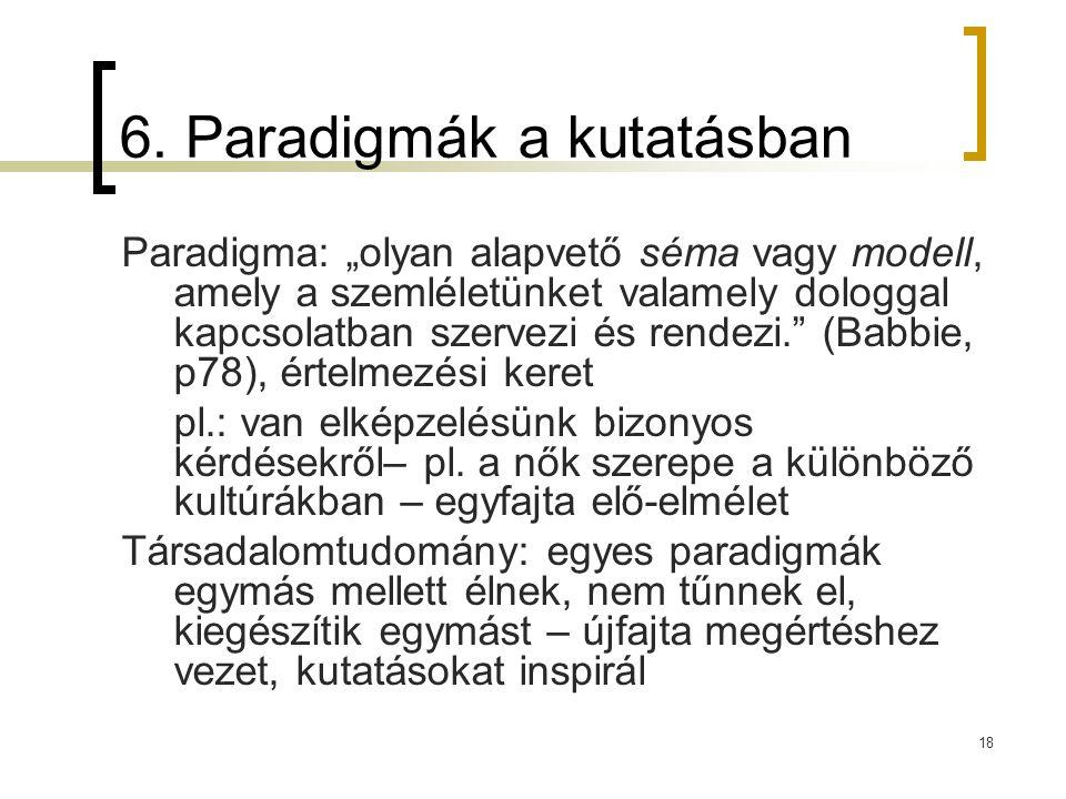 """18 6. Paradigmák a kutatásban Paradigma: """"olyan alapvető séma vagy modell, amely a szemléletünket valamely dologgal kapcsolatban szervezi és rendezi."""""""