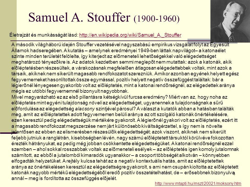 8 Samuel A. Stouffer (1900-1960) Életrajzát és munkásságát lásd: http://en.wikipedia.org/wiki/Samuel_A._Stoufferhttp://en.wikipedia.org/wiki/Samuel_A.