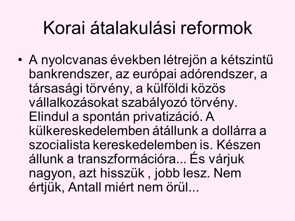Korai átalakulási reformok A nyolcvanas években létrejön a kétszintű bankrendszer, az európai adórendszer, a társasági törvény, a külföldi közös vállalkozásokat szabályozó törvény.