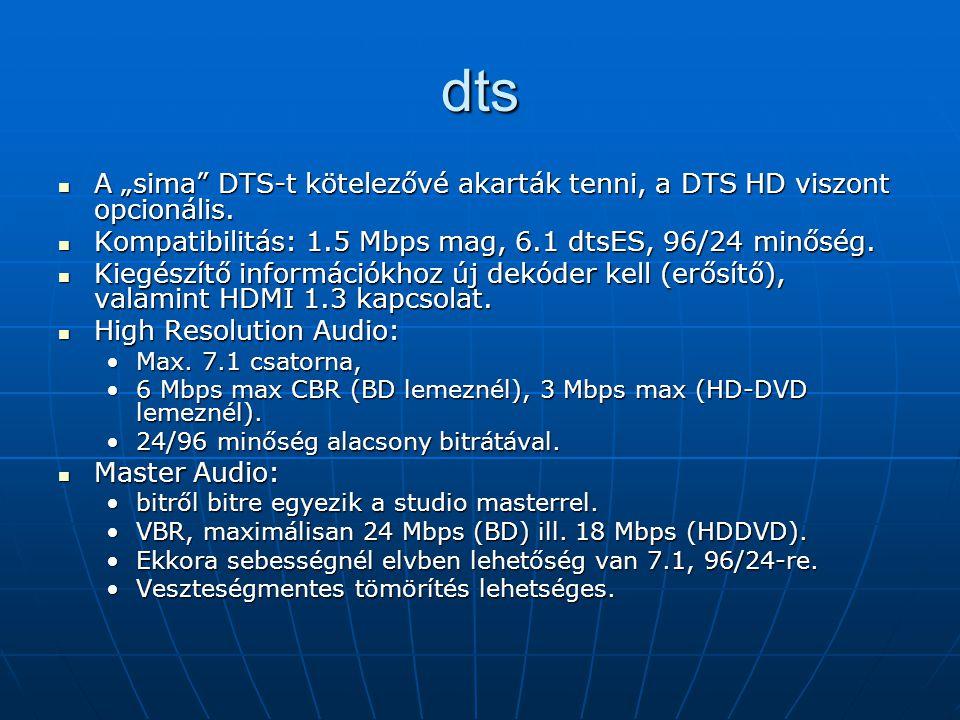 """dts A """"sima DTS-t kötelezővé akarták tenni, a DTS HD viszont opcionális."""