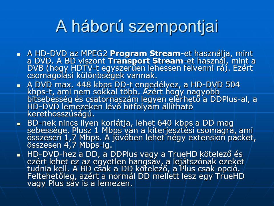 A háború szempontjai A HD-DVD az MPEG2 Program Stream-et használja, mint a DVD. A BD viszont Transport Stream-et használ, mint a DVB (hogy HDTV-t egys