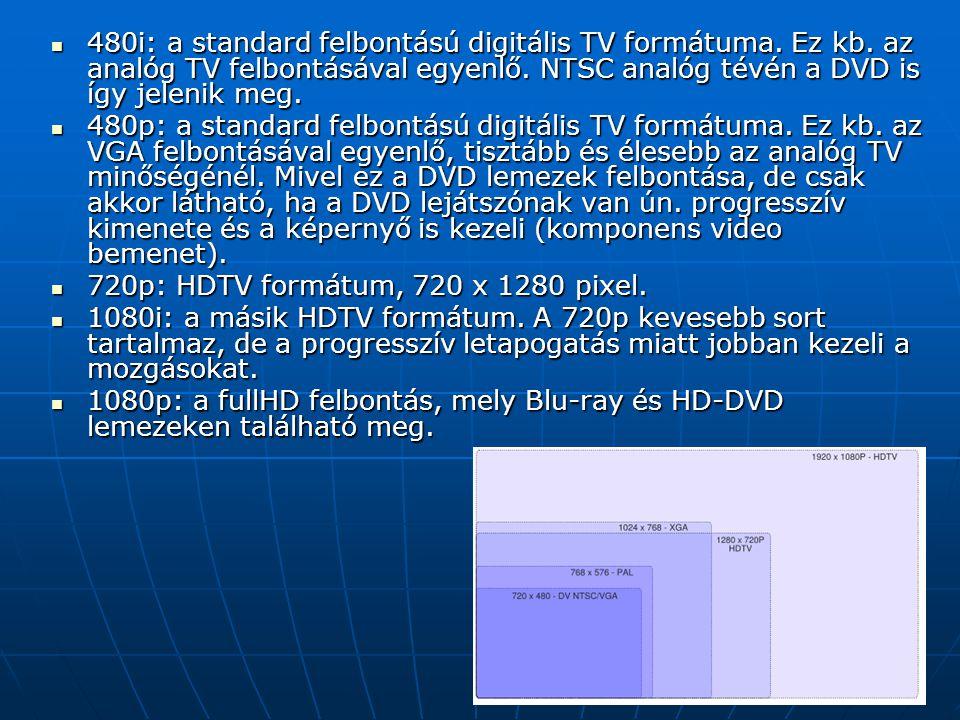 480i: a standard felbontású digitális TV formátuma. Ez kb. az analóg TV felbontásával egyenlő. NTSC analóg tévén a DVD is így jelenik meg. 480i: a sta