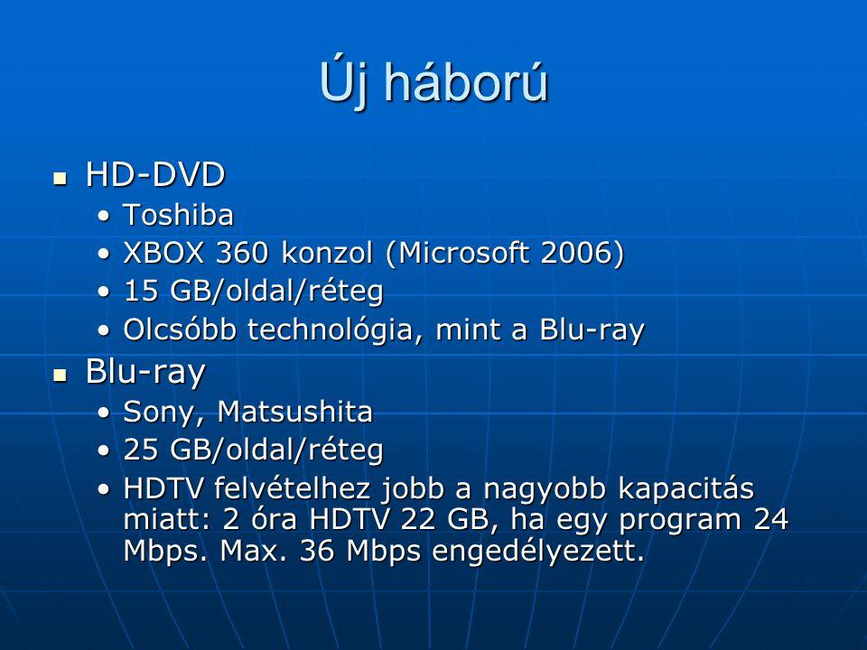 Új háború HD-DVD HD-DVD ToshibaToshiba XBOX 360 konzol (Microsoft 2006)XBOX 360 konzol (Microsoft 2006) 15 GB/oldal/réteg15 GB/oldal/réteg Olcsóbb technológia, mint a Blu-rayOlcsóbb technológia, mint a Blu-ray Blu-ray Blu-ray Sony, MatsushitaSony, Matsushita 25 GB/oldal/réteg25 GB/oldal/réteg HDTV felvételhez jobb a nagyobb kapacitás miatt: 2 óra HDTV 22 GB, ha egy program 24 Mbps.