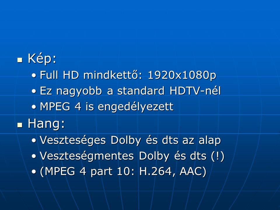 Kép: Kép: Full HD mindkettő: 1920x1080pFull HD mindkettő: 1920x1080p Ez nagyobb a standard HDTV-nélEz nagyobb a standard HDTV-nél MPEG 4 is engedélyez