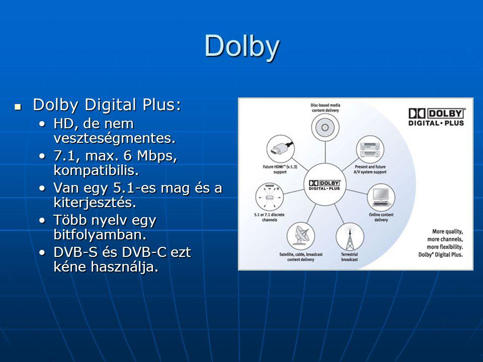 Dolby Digital True HD: Dolby Digital True HD: VeszteségmentesVeszteségmentes 24 bit/96kHz, 18 Mbps max.24 bit/96kHz, 18 Mbps max.