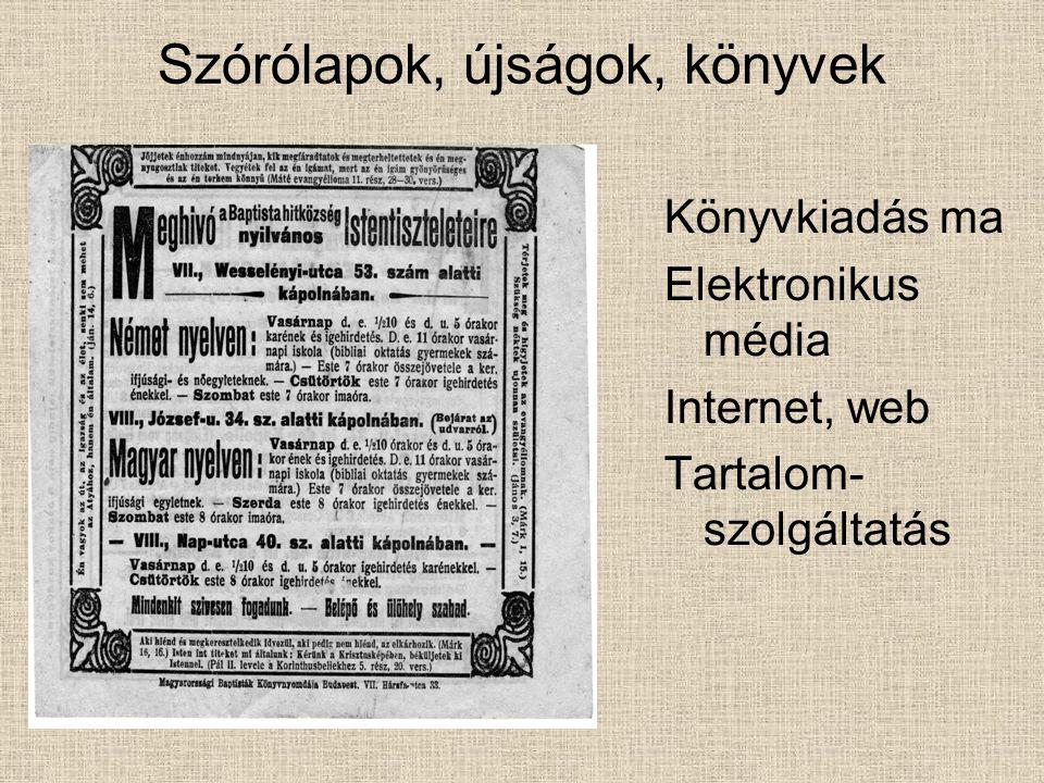 Szórólapok, újságok, könyvek Könyvkiadás ma Elektronikus média Internet, web Tartalom- szolgáltatás