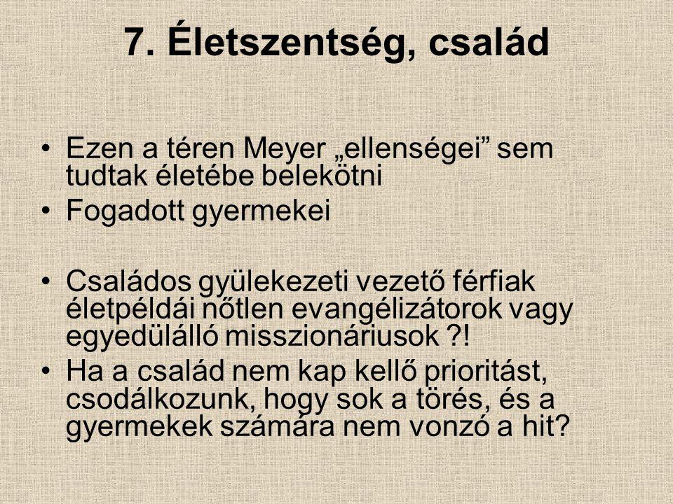 """7. Életszentség, család Ezen a téren Meyer """"ellenségei"""" sem tudtak életébe belekötni Fogadott gyermekei Családos gyülekezeti vezető férfiak életpéldái"""