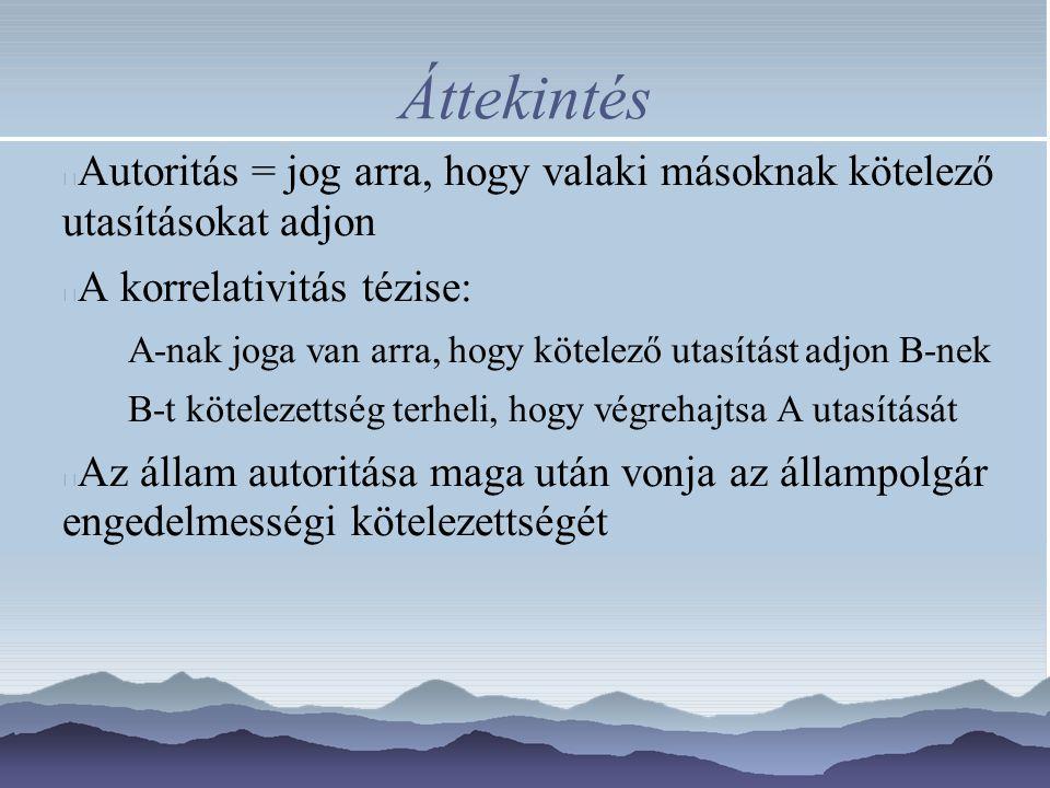 Áttekintés Az autoritás fogalmának elemzése (mit jelent autoritatív utasításokat adni?) Az autoritás igazolása.