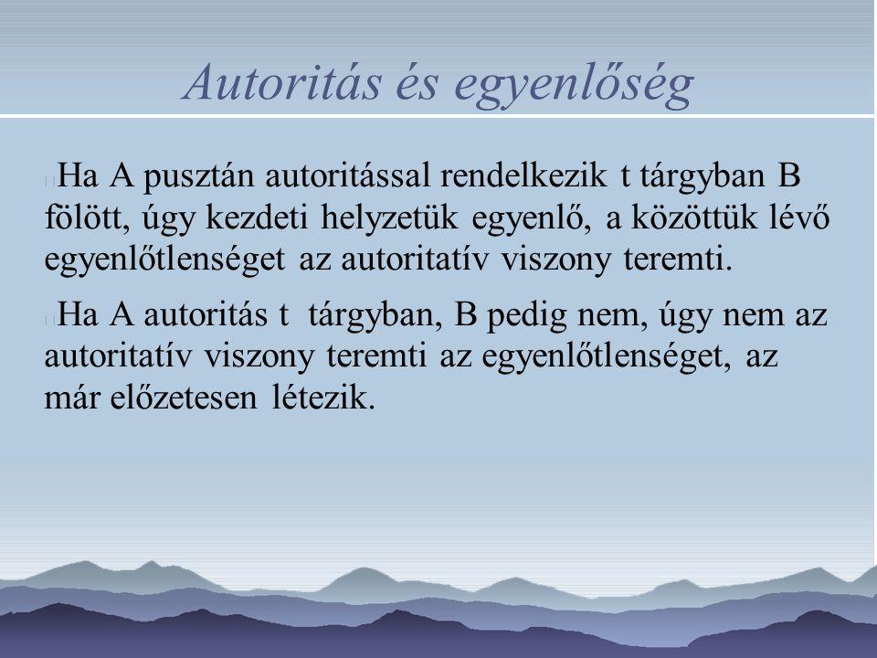 Autoritás és egyenlőség Ha A pusztán autoritással rendelkezik t tárgyban B fölött, úgy kezdeti helyzetük egyenlő, a közöttük lévő egyenlőtlenséget az autoritatív viszony teremti.