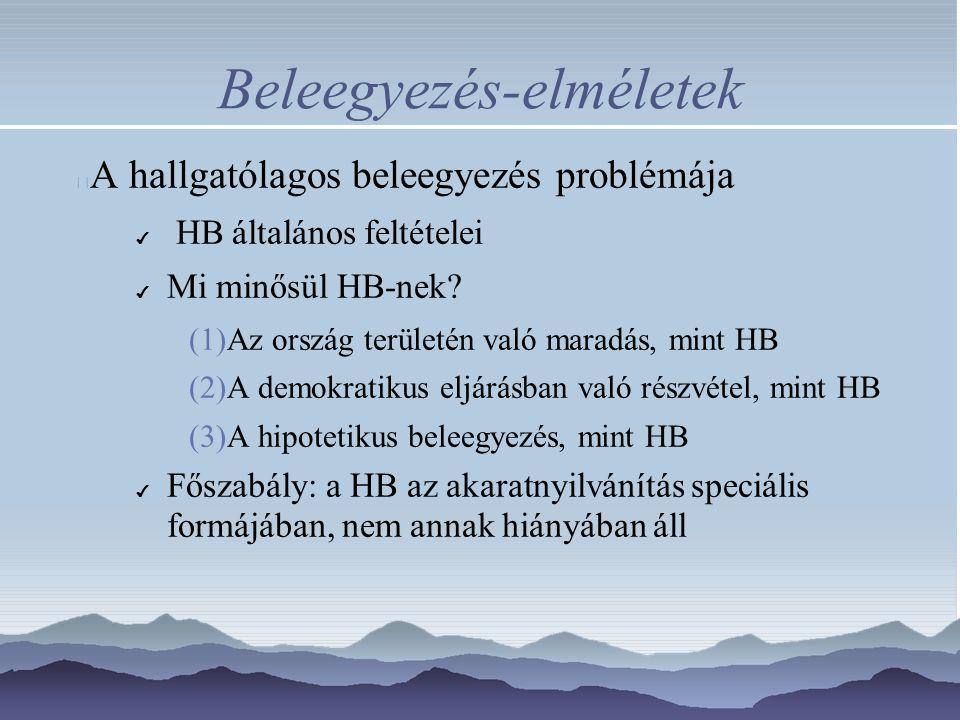 Beleegyezés-elméletek A hallgatólagos beleegyezés problémája ✔ HB általános feltételei ✔ Mi minősül HB-nek? (1)Az ország területén való maradás, mint