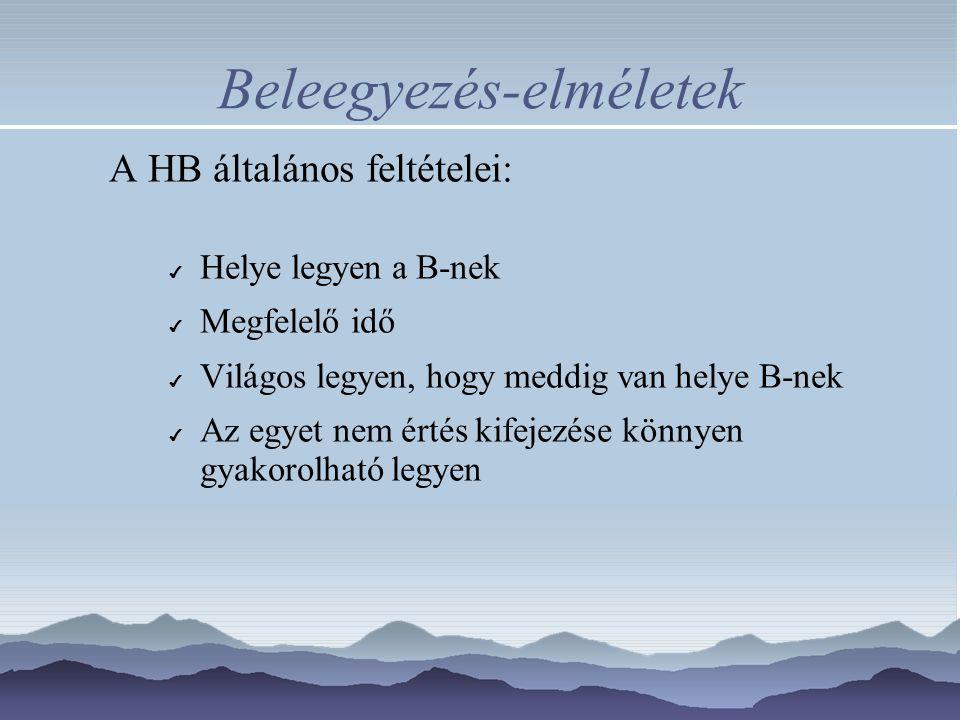 Beleegyezés-elméletek A HB általános feltételei: ✔ Helye legyen a B-nek ✔ Megfelelő idő ✔ Világos legyen, hogy meddig van helye B-nek ✔ Az egyet nem é