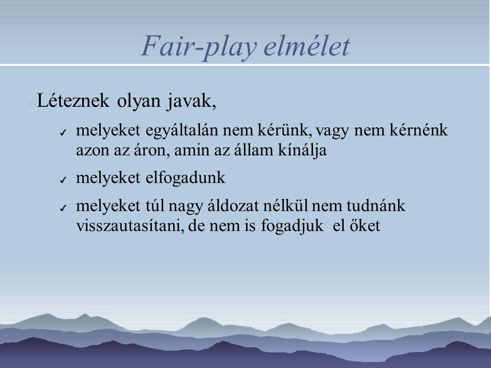 Fair-play elmélet Léteznek olyan javak, ✔ melyeket egyáltalán nem kérünk, vagy nem kérnénk azon az áron, amin az állam kínálja ✔ melyeket elfogadunk ✔ melyeket túl nagy áldozat nélkül nem tudnánk visszautasítani, de nem is fogadjuk el őket