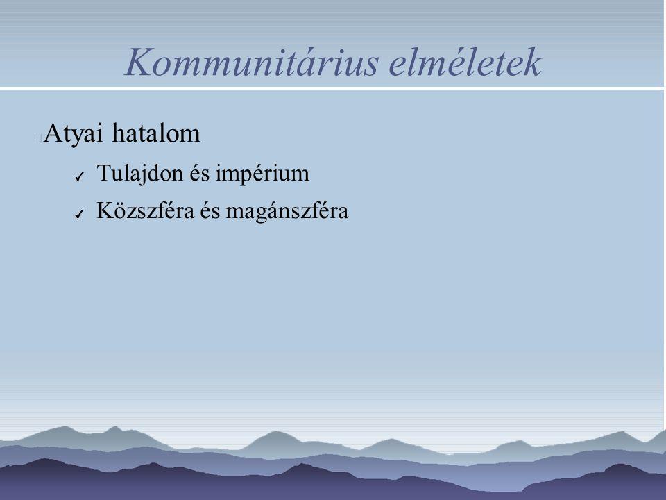 Kommunitárius elméletek Atyai hatalom ✔ Tulajdon és impérium ✔ Közszféra és magánszféra