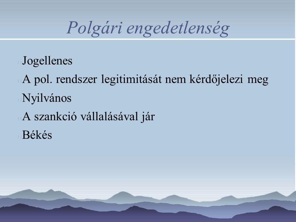 Polgári engedetlenség Jogellenes A pol. rendszer legitimitását nem kérdőjelezi meg Nyilvános A szankció vállalásával jár Békés