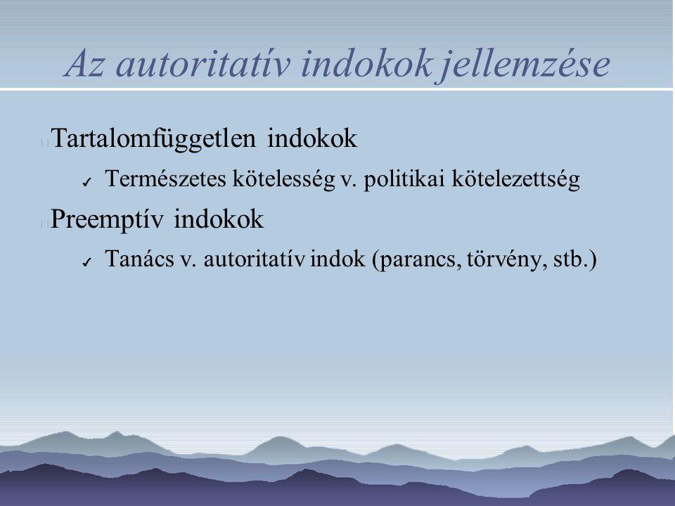 Az autoritatív indokok jellemzése Tartalomfüggetlen indokok ✔ Természetes kötelesség v. politikai kötelezettség Preemptív indokok ✔ Tanács v. autorita