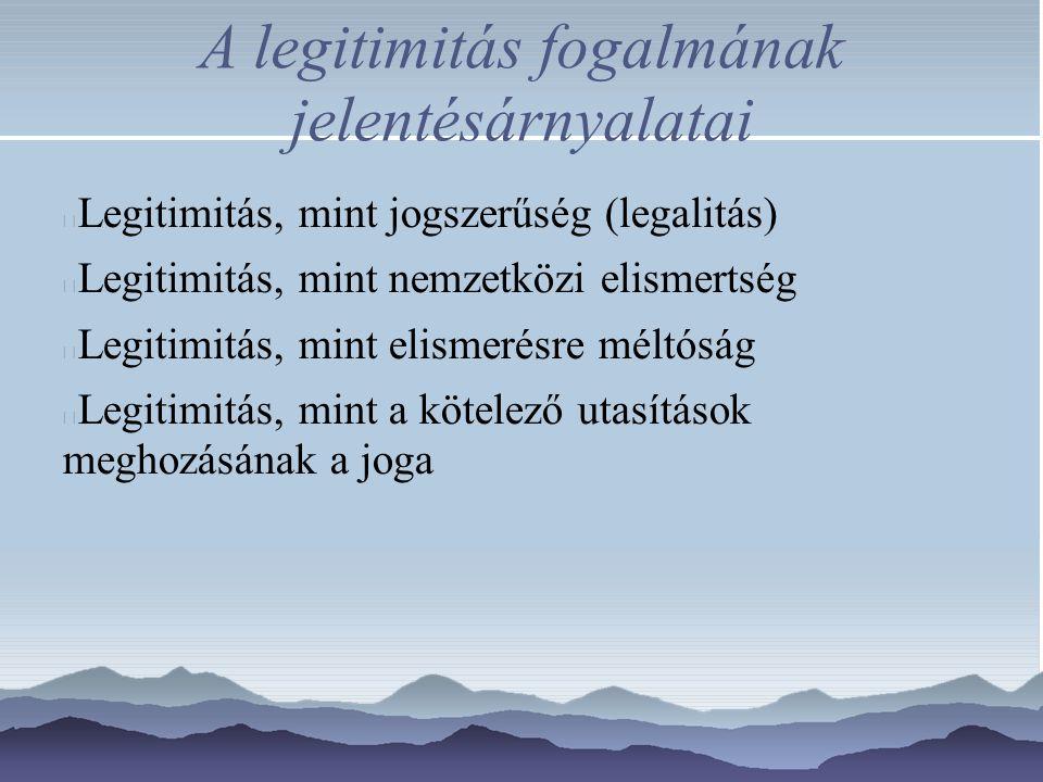 A legitimitás fogalmának jelentésárnyalatai Legitimitás, mint jogszerűség (legalitás) Legitimitás, mint nemzetközi elismertség Legitimitás, mint elism