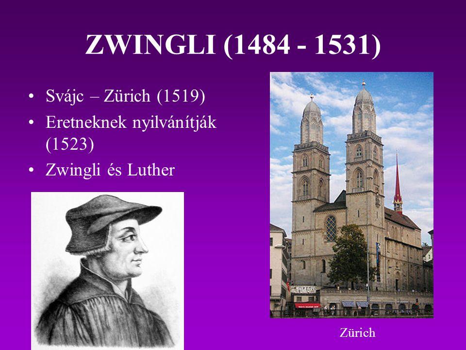ZWINGLI (1484 - 1531) Svájc – Zürich (1519) Eretneknek nyilvánítják (1523) Zwingli és Luther Zürich