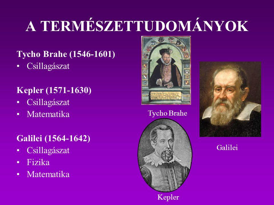 A TERMÉSZETTUDOMÁNYOK Tycho Brahe (1546-1601) Csillagászat Kepler (1571-1630) Csillagászat Matematika Galilei (1564-1642) Csillagászat Fizika Matemati