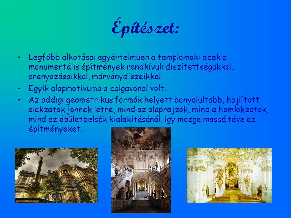 Építészet: Legfőbb alkotásai egyértelműen a templomok: ezek a monumentális építmények rendkívüli díszítettségükkel, aranyozásaikkal, márványdíszeikkel.