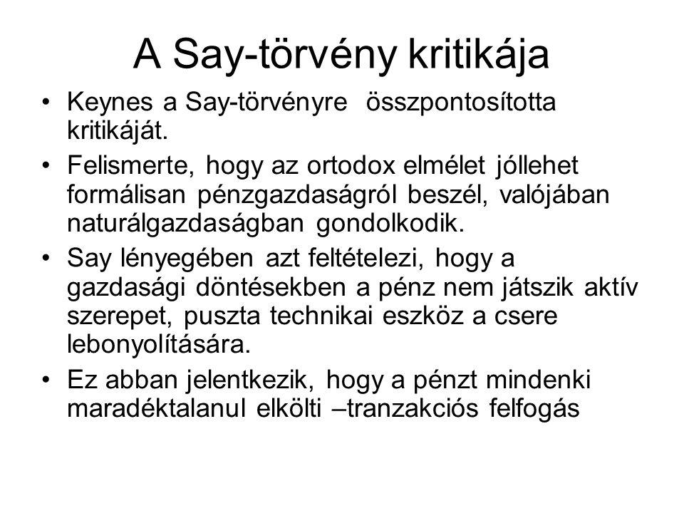 A Say-törvény kritikája Keynes a Say-törvényre összpontosította kritikáját. Felismerte, hogy az ortodox elmélet jóllehet formálisan pénzgazdaságról be
