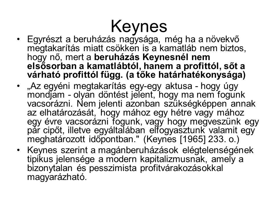 Keynes Egyrészt a beruházás nagysága, még ha a növekvő megtakarítás miatt csökken is a kamatláb nem biztos, hogy nő, mert a beruházás Keynesnél nem el