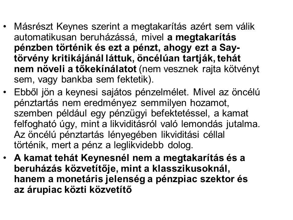Másrészt Keynes szerint a megtakarítás azért sem válik automatikusan beruházássá, mivel a megtakarítás pénzben történik és ezt a pénzt, ahogy ezt a Sa