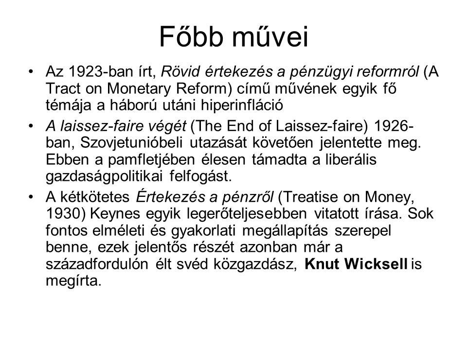Főbb művei Az 1923-ban írt, Rövid értekezés a pénzügyi reformról (A Tract on Monetary Reform) című művének egyik fő témája a háború utáni hiperinfláci