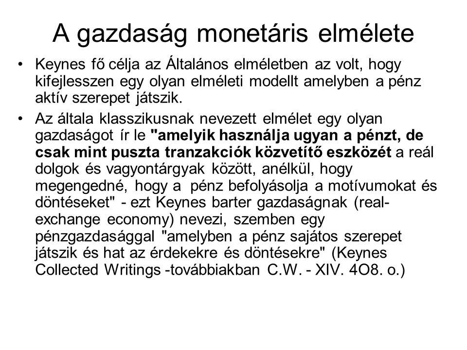 A gazdaság monetáris elmélete Keynes fő célja az Általános elméletben az volt, hogy kifejlesszen egy olyan elméleti modellt amelyben a pénz aktív szer