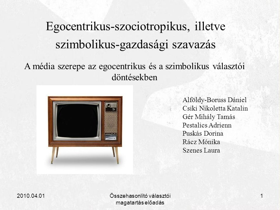 2010.04.01Összehasonlító választói magatartás előadás 1 Egocentrikus-szociotropikus, illetve szimbolikus-gazdasági szavazás A média szerepe az egocent