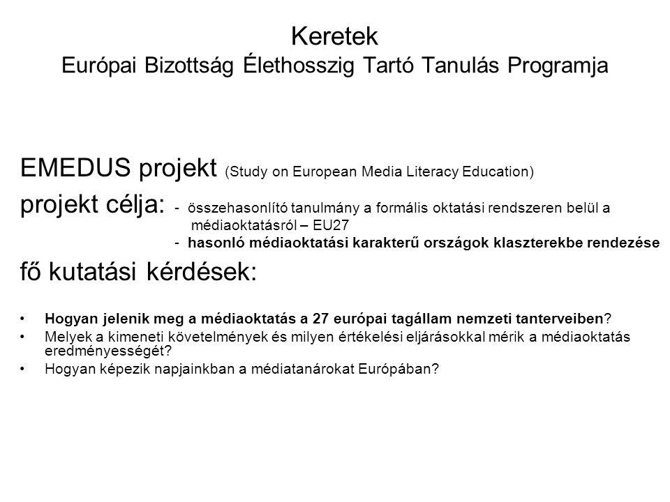 Keretek Európai Bizottság Élethosszig Tartó Tanulás Programja EMEDUS projekt (Study on European Media Literacy Education) projekt célja: - összehasonl