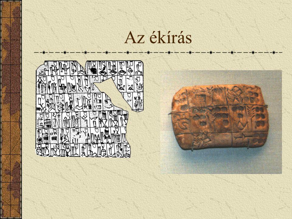 Társadalmi téren: Az ékirás. A babilóniaiak égetett agyagtáblákra írtak. A sumérok használták először az ékírást, mint az információ- közlés egyik for