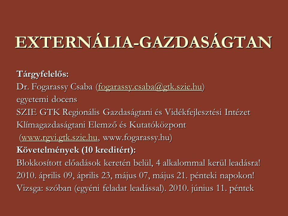 EXTERNÁLIA-GAZDASÁGTAN Tárgyfelelős: Dr.