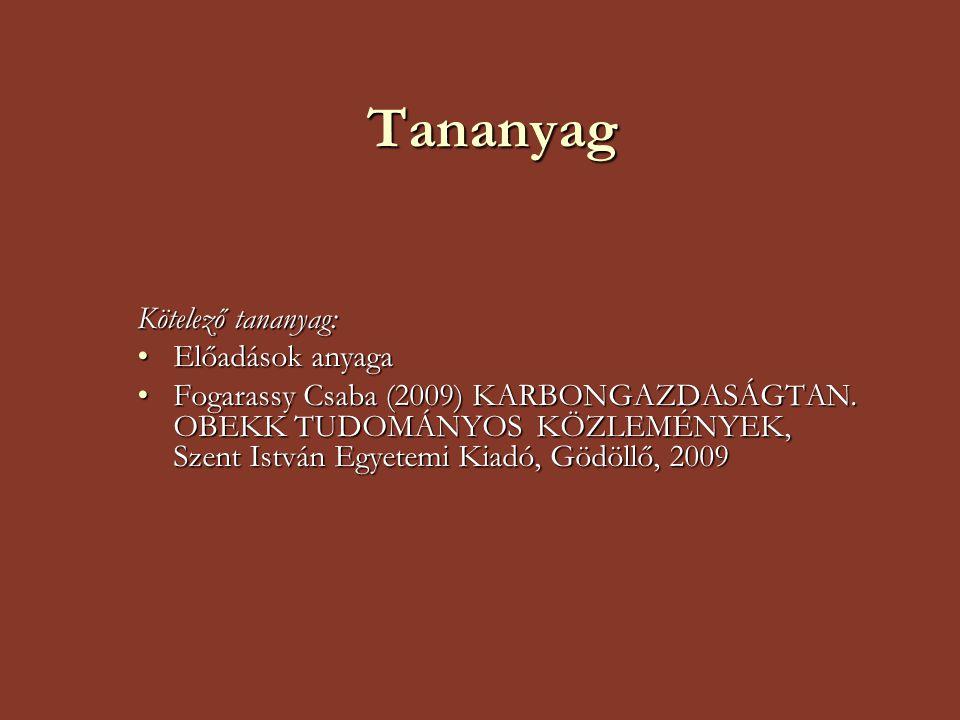 Tananyag Kötelező tananyag: Előadások anyagaElőadások anyaga Fogarassy Csaba (2009) KARBONGAZDASÁGTAN. OBEKK TUDOMÁNYOS KÖZLEMÉNYEK, Szent István Egye