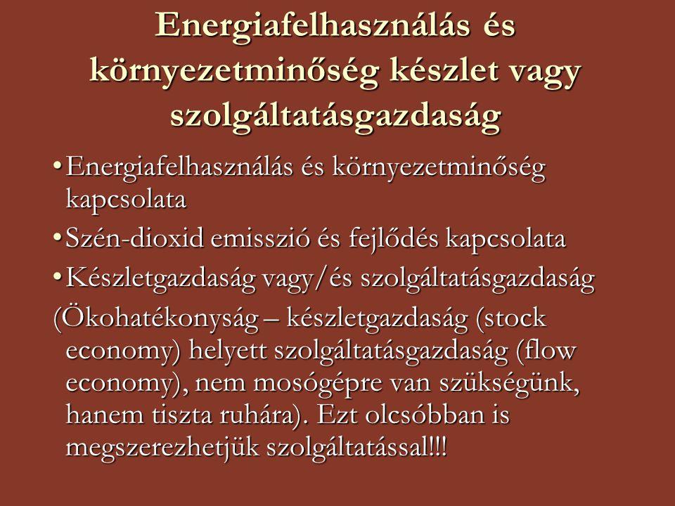Energiafelhasználás és környezetminőség készlet vagy szolgáltatásgazdaság Energiafelhasználás és környezetminőség kapcsolataEnergiafelhasználás és környezetminőség kapcsolata Szén-dioxid emisszió és fejlődés kapcsolataSzén-dioxid emisszió és fejlődés kapcsolata Készletgazdaság vagy/és szolgáltatásgazdaságKészletgazdaság vagy/és szolgáltatásgazdaság (Ökohatékonyság – készletgazdaság (stock economy) helyett szolgáltatásgazdaság (flow economy), nem mosógépre van szükségünk, hanem tiszta ruhára).