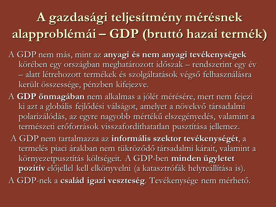 A gazdasági teljesítmény mérésnek alapproblémái – GDP (bruttó hazai termék) A GDP nem más, mint az anyagi és nem anyagi tevékenységek körében egy orsz