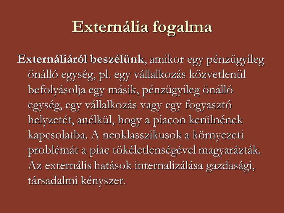 Externália fogalma Externáliáról beszélünk, amikor egy pénzügyileg önálló egység, pl. egy vállalkozás közvetlenül befolyásolja egy másik, pénzügyileg
