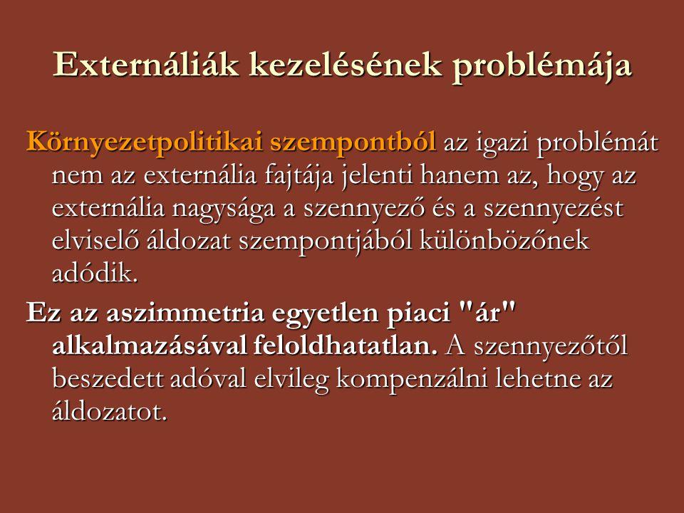 Externáliák kezelésének problémája Környezetpolitikai szempontból az igazi problémát nem az externália fajtája jelenti hanem az, hogy az externália na