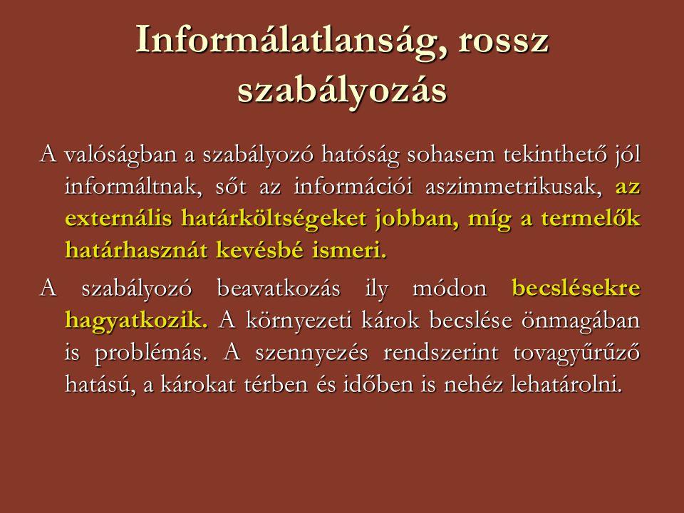 Informálatlanság, rossz szabályozás A valóságban a szabályozó hatóság sohasem tekinthető jól informáltnak, sőt az információi aszimmetrikusak, az exte