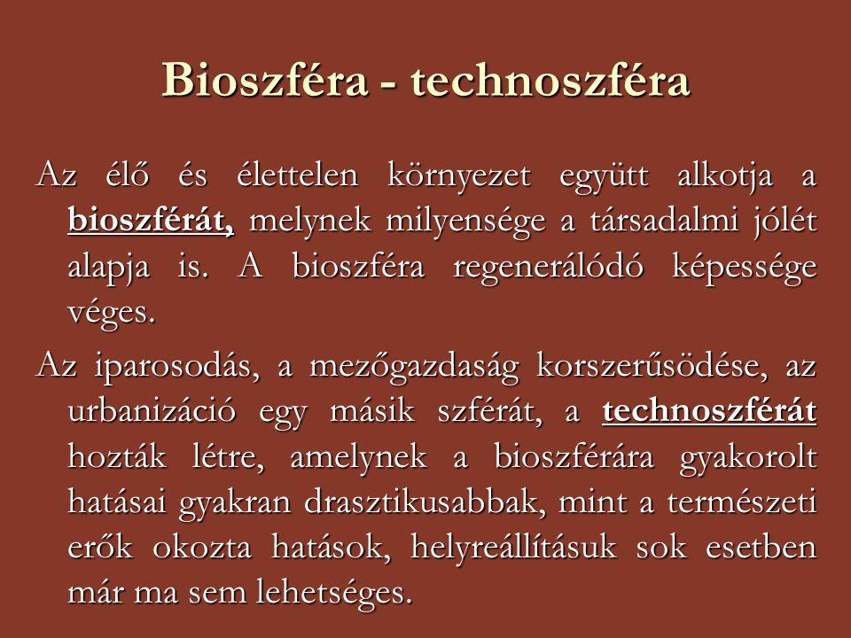 Bioszféra - technoszféra Az élő és élettelen környezet együtt alkotja a bioszférát, melynek milyensége a társadalmi jólét alapja is. A bioszféra regen