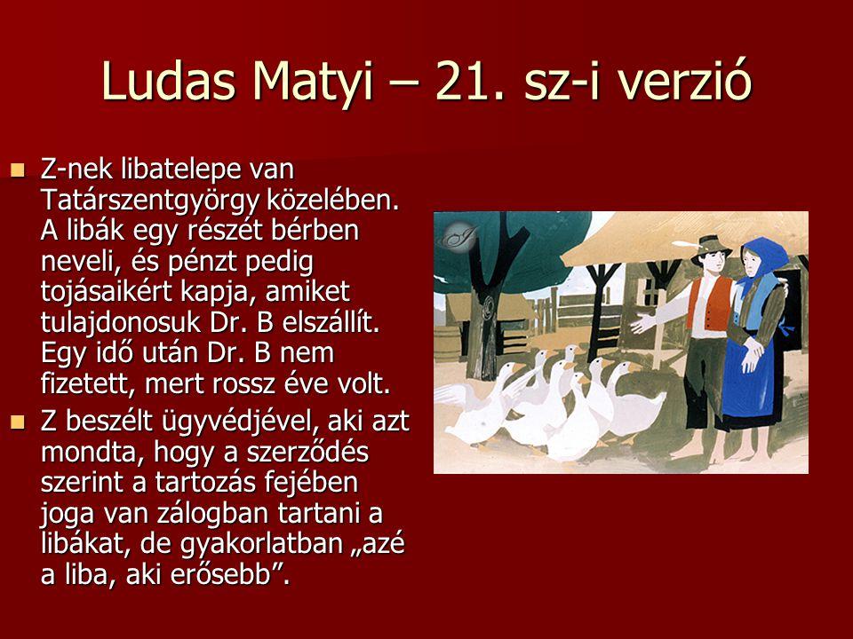 Ludas Matyi – 21. sz-i verzió Z-nek libatelepe van Tatárszentgyörgy közelében. A libák egy részét bérben neveli, és pénzt pedig tojásaikért kapja, ami
