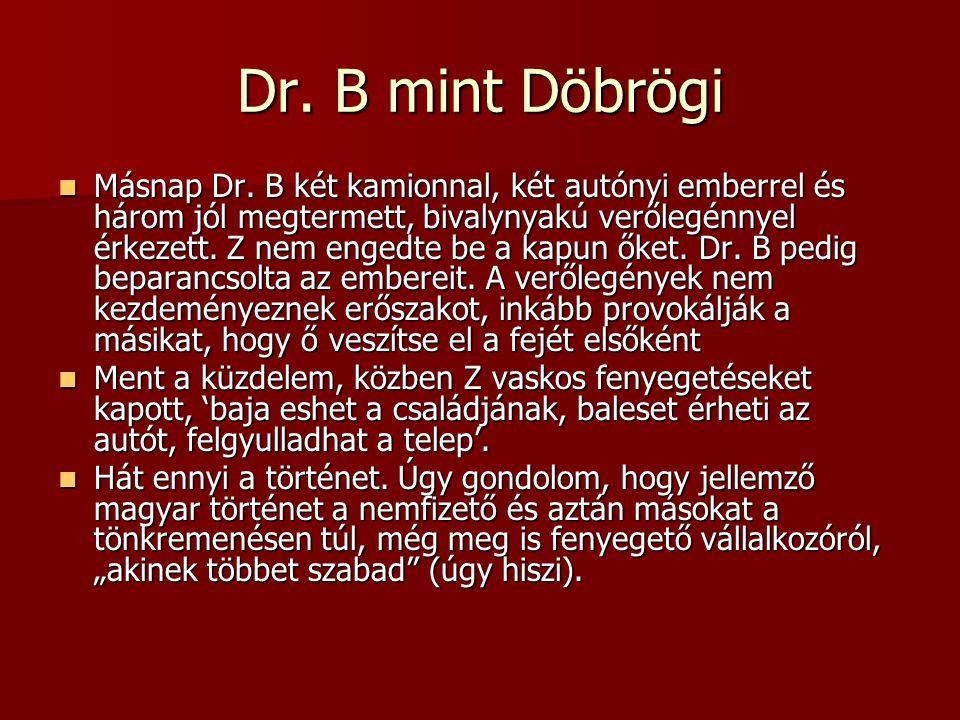 Dr. B mint Döbrögi Másnap Dr. B két kamionnal, két autónyi emberrel és három jól megtermett, bivalynyakú verőlegénnyel érkezett. Z nem engedte be a ka