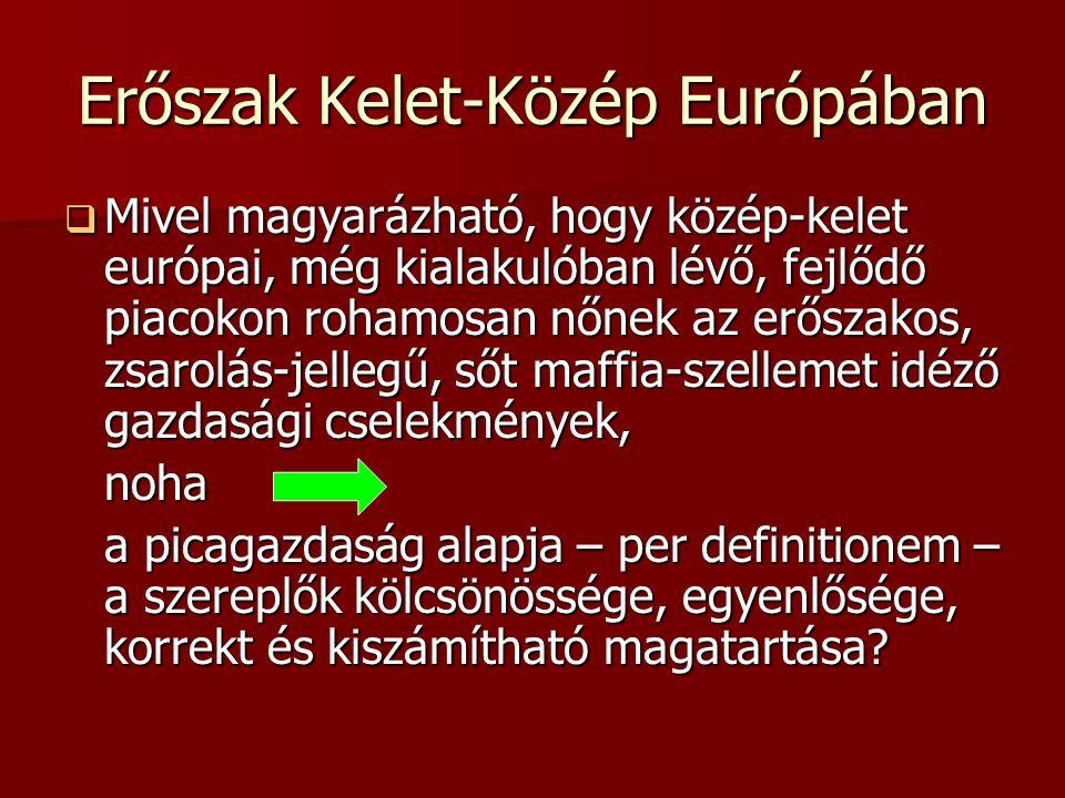 Erőszak Kelet-Közép Európában  Mivel magyarázható, hogy közép-kelet európai, még kialakulóban lévő, fejlődő piacokon rohamosan nőnek az erőszakos, zs
