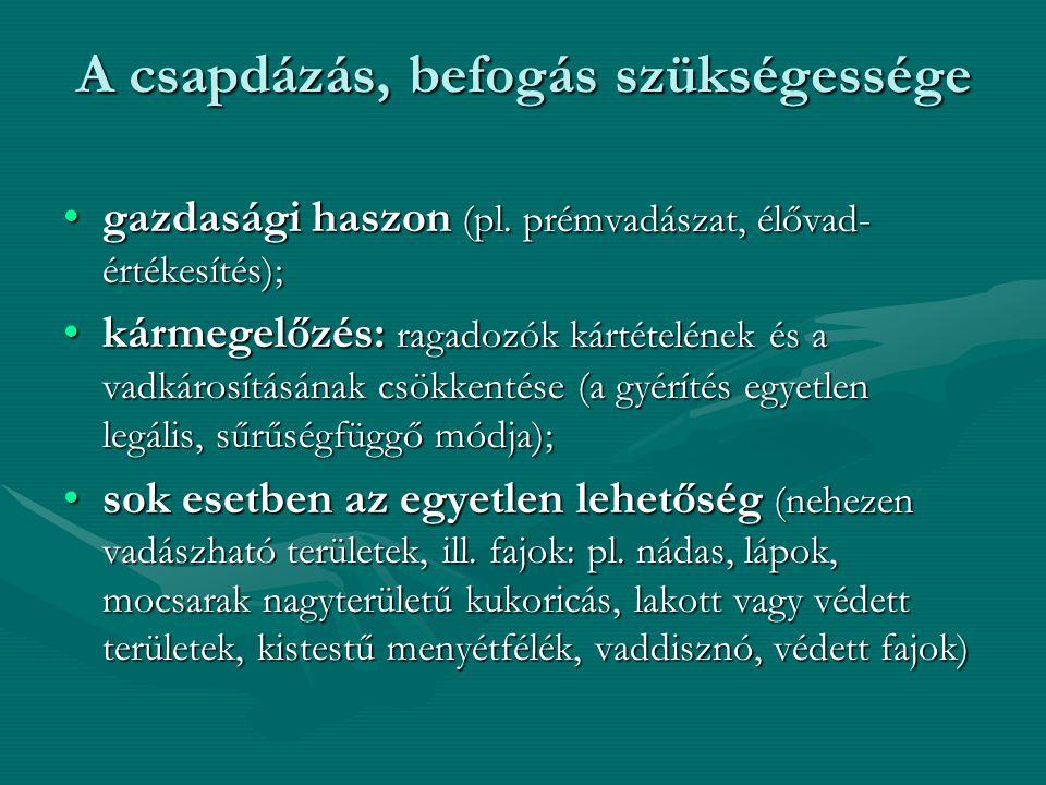 A csapdázás, befogás szükségessége A csapdázás, befogás szükségessége gazdasági haszon (pl. prémvadászat, élővad- értékesítés);gazdasági haszon (pl. p