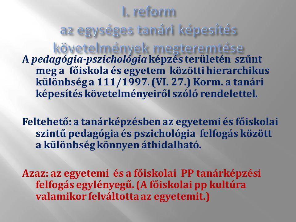A pedagógia-pszichológia képzés területén szűnt meg a főiskola és egyetem közötti hierarchikus különbség a 111/1997.
