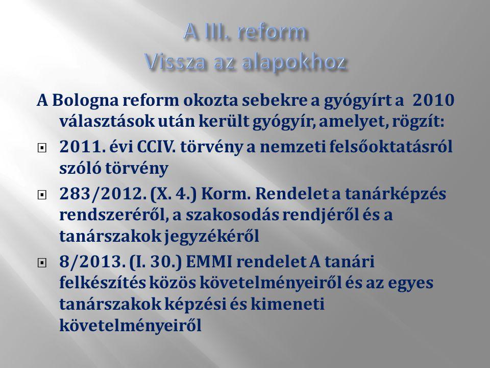 A Bologna reform okozta sebekre a gyógyírt a 2010 választások után került gyógyír, amelyet, rögzít:  2011.