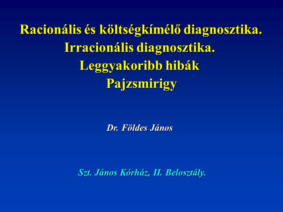 Racionális és költségkímélő diagnosztika. Irracionális diagnosztika. Leggyakoribb hibák Pajzsmirigy Dr. Földes János Szt. János Kórház, II. Belosztály