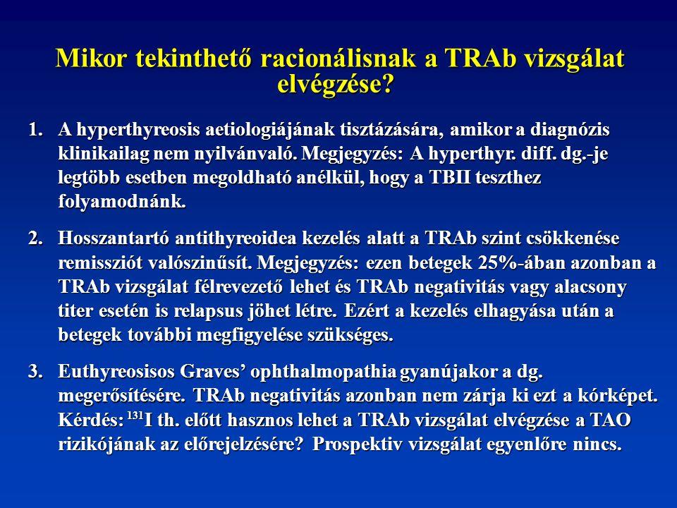 Mikor tekinthető racionálisnak a TRAb vizsgálat elvégzése? 1. A hyperthyreosis aetiologiájának tisztázására, amikor a diagnózis klinikailag nem nyilvá
